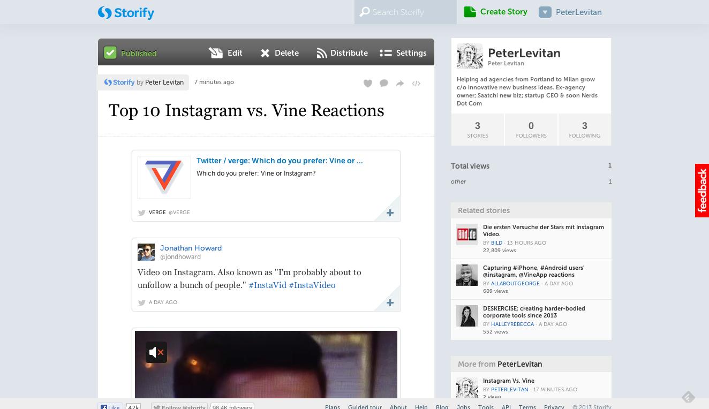 Top 10 Instagram vs. Vine Reactions  with tweets  · PeterLevitan · Storify