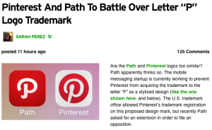 """Pinterest And Path To Battle Over Letter """"P"""" Logo Trademark 